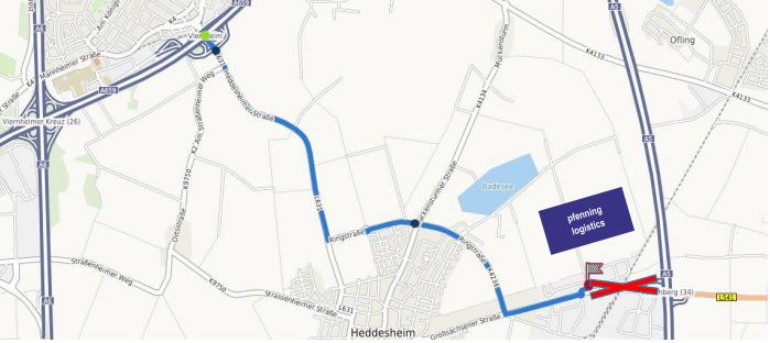 Full-closure-of-the-highway exit Hirschberg (A5) until roundabout at industrial park / Heddesheim